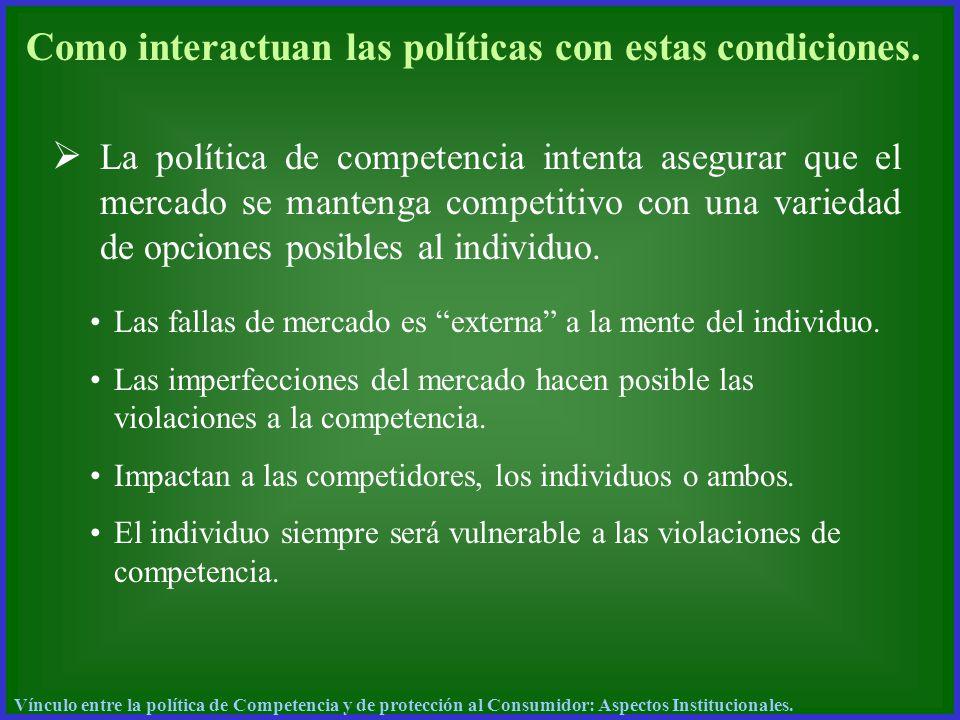 Como interactuan las políticas con estas condiciones. La política de competencia intenta asegurar que el mercado se mantenga competitivo con una varie