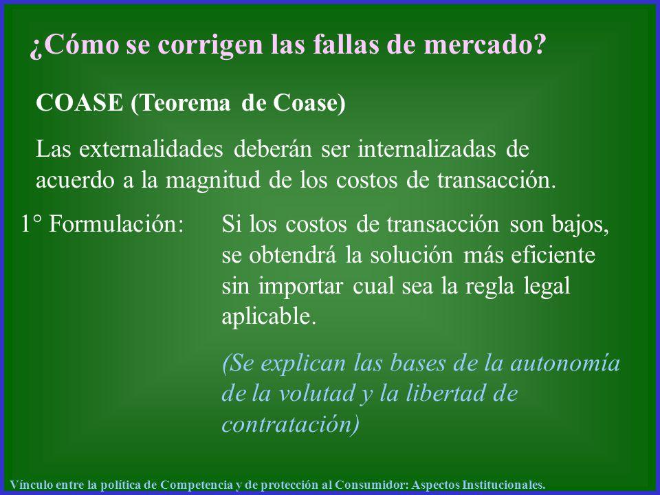 ¿Cómo se corrigen las fallas de mercado? COASE (Teorema de Coase) Las externalidades deberán ser internalizadas de acuerdo a la magnitud de los costos