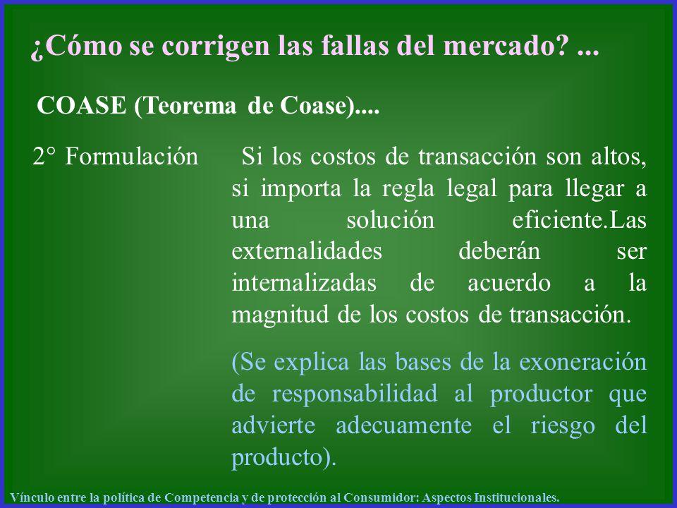 ¿Cómo se corrigen las fallas del mercado?... COASE (Teorema de Coase).... 2° Formulación Si los costos de transacción son altos, si importa la regla l