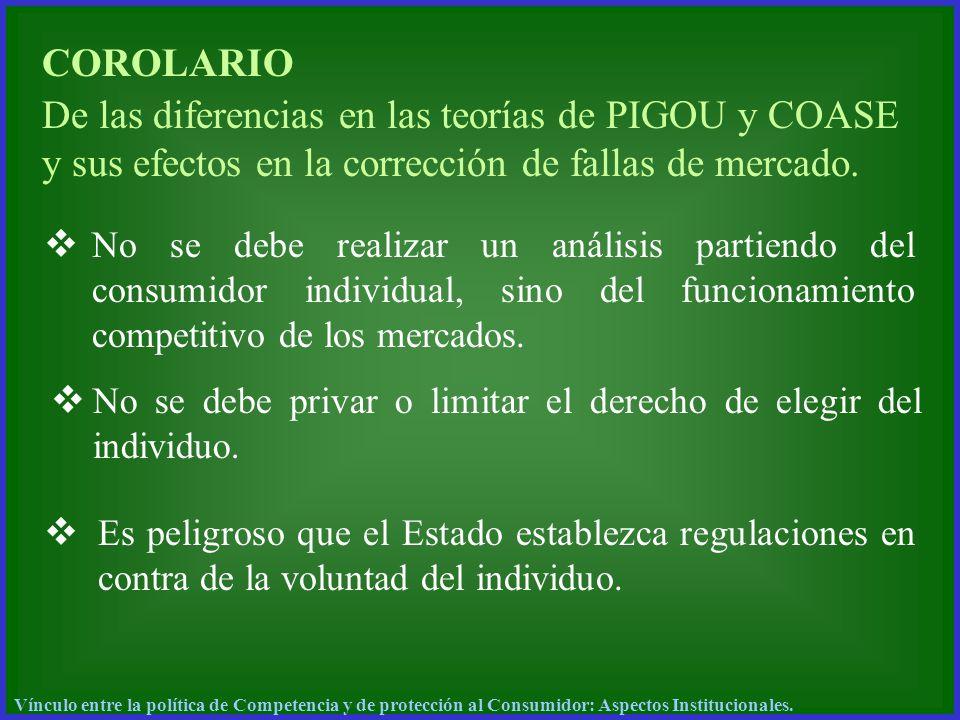 COROLARIO De las diferencias en las teorías de PIGOU y COASE y sus efectos en la corrección de fallas de mercado.