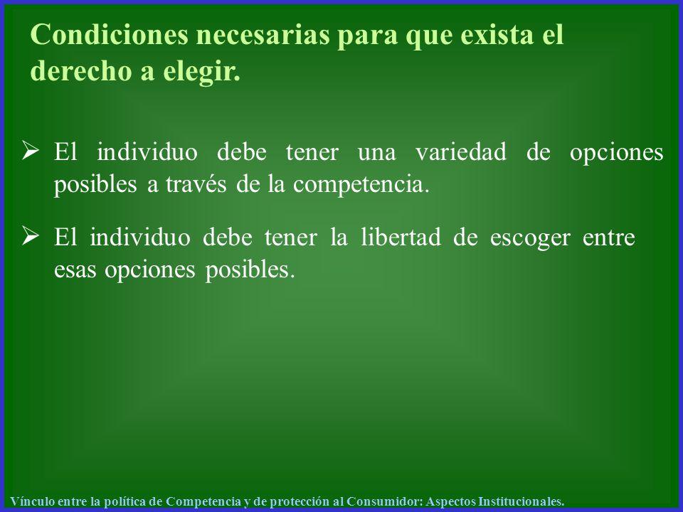 Condiciones necesarias para que exista el derecho a elegir. El individuo debe tener una variedad de opciones posibles a través de la competencia. El i