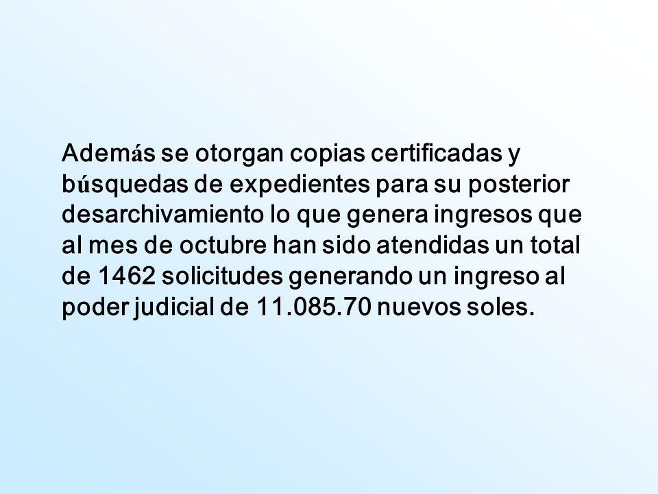 Adem á s se otorgan copias certificadas y b ú squedas de expedientes para su posterior desarchivamiento lo que genera ingresos que al mes de octubre h