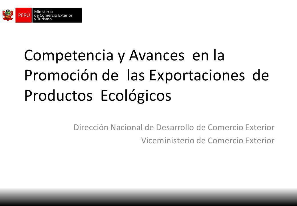 Competencia y Avances en la Promoción de las Exportaciones de Productos Ecológicos Dirección Nacional de Desarrollo de Comercio Exterior Viceministeri