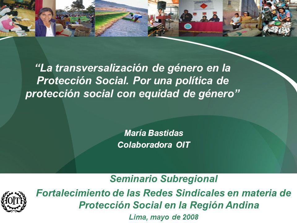 CONTENIDOS DE LA PRESENTACION Aproximaciones sobre Género y Trabajo Tendencias generales del empleo femenino en América Latina Situación previsional de las mujeres en América Latina Medidas para otorgar la igualdad de trato en la protección social y para promover la igualdad de género a través de la protección social