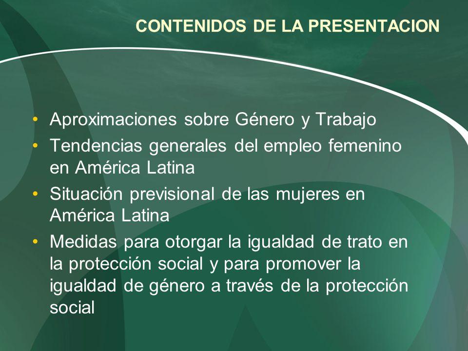 CONTENIDOS DE LA PRESENTACION Aproximaciones sobre Género y Trabajo Tendencias generales del empleo femenino en América Latina Situación previsional d
