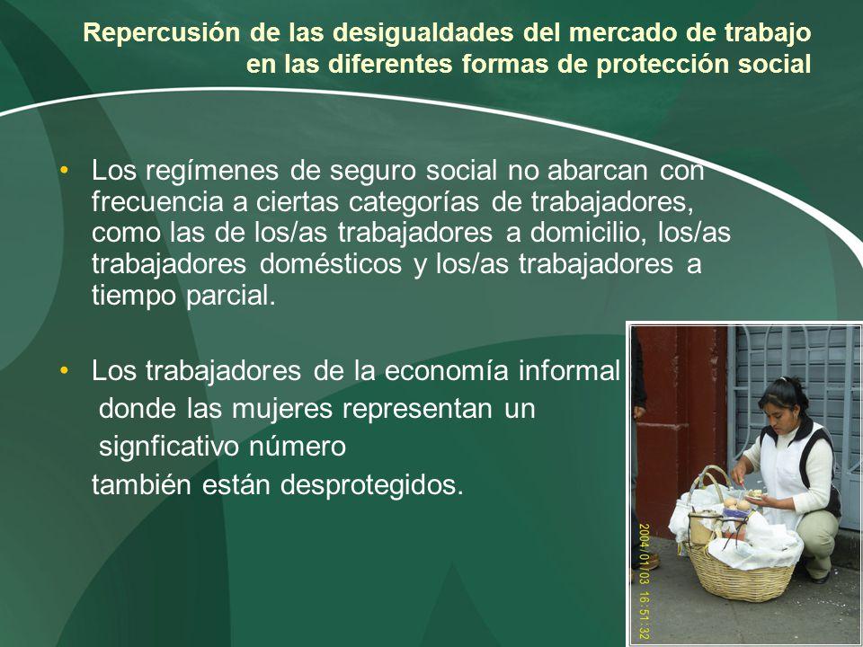 Repercusión de las desigualdades del mercado de trabajo en las diferentes formas de protección social Los regímenes de seguro social no abarcan con fr