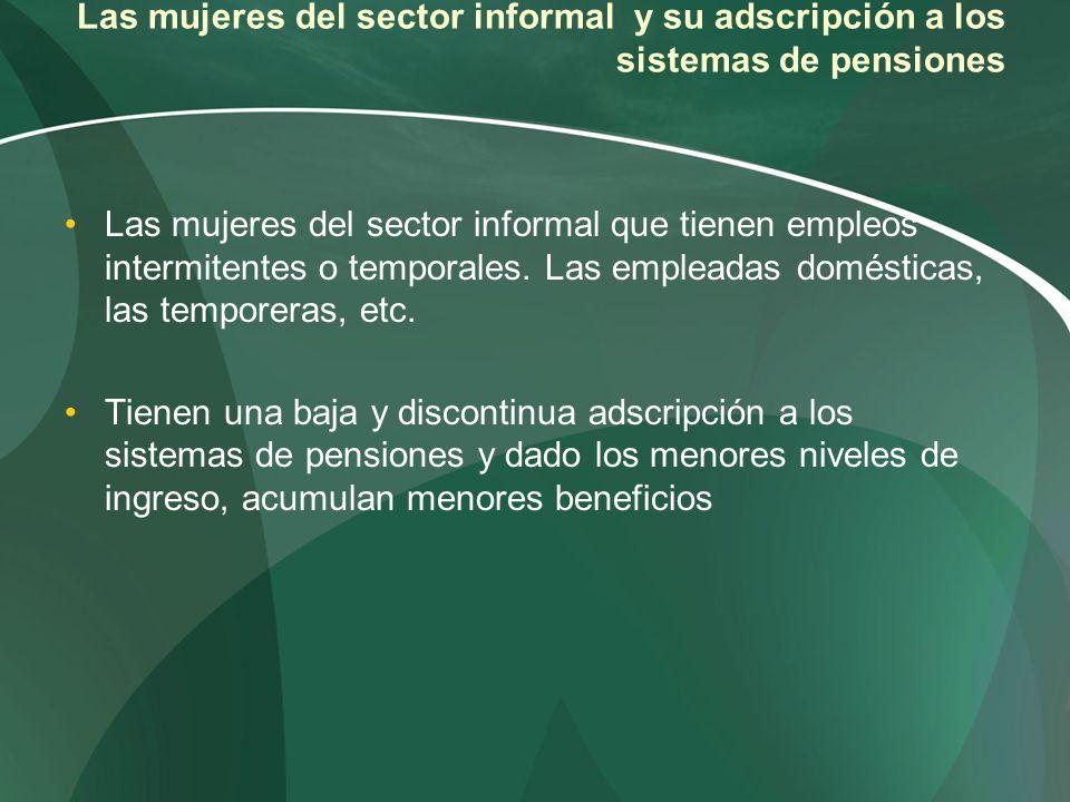 Las mujeres del sector informal y su adscripción a los sistemas de pensiones Las mujeres del sector informal que tienen empleos intermitentes o tempor