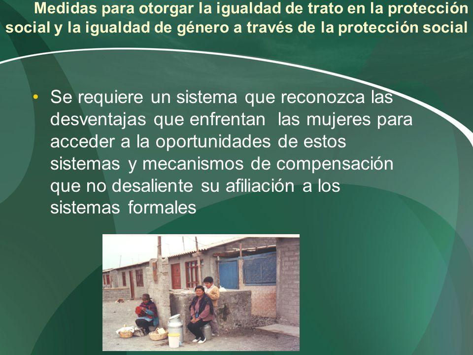 Medidas para otorgar la igualdad de trato en la protección social y la igualdad de género a través de la protección social Se requiere un sistema que