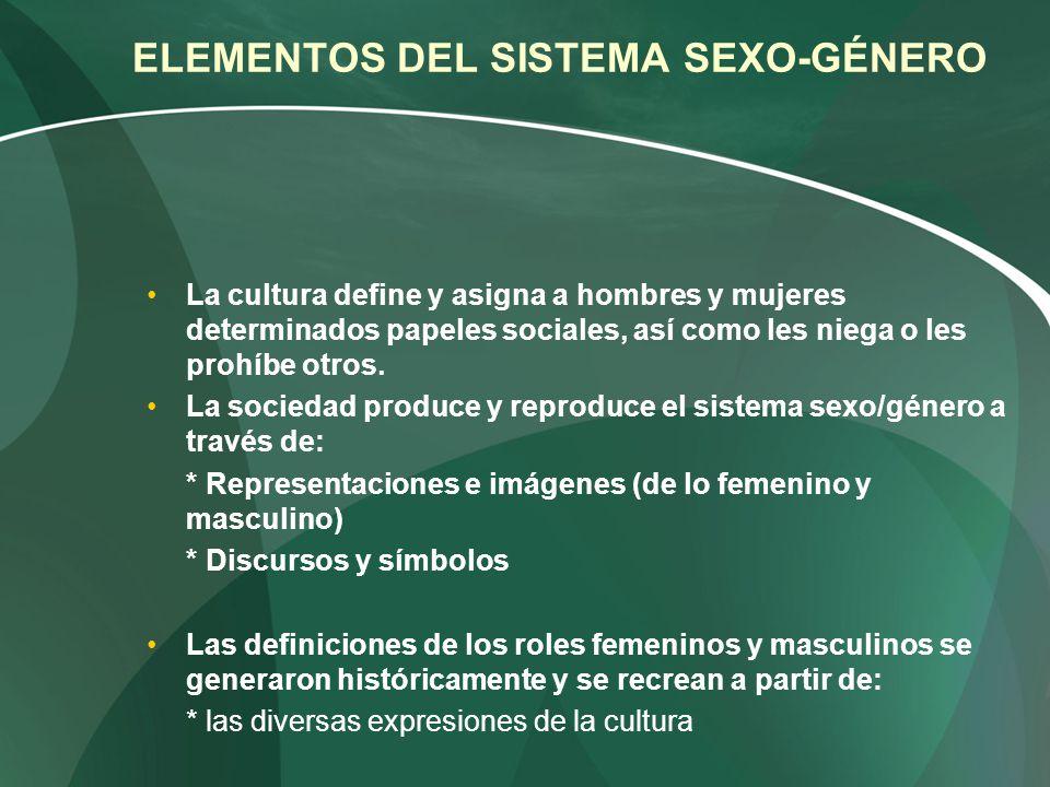 ELEMENTOS DEL SISTEMA SEXO-GÉNERO La cultura define y asigna a hombres y mujeres determinados papeles sociales, así como les niega o les prohíbe otros