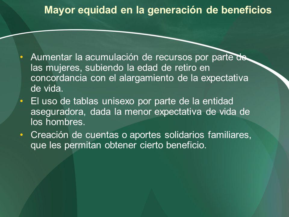 Mayor equidad en la generación de beneficios Aumentar la acumulación de recursos por parte de las mujeres, subiendo la edad de retiro en concordancia