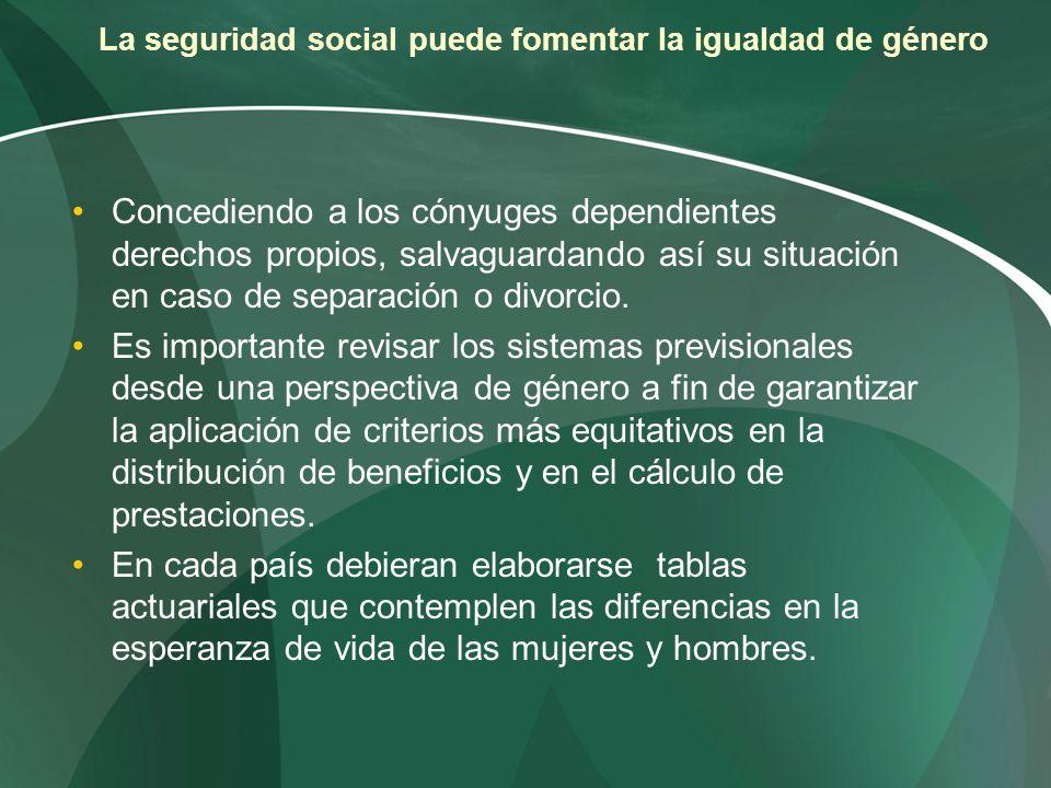 La seguridad social puede fomentar la igualdad de género Concediendo a los cónyuges dependientes derechos propios, salvaguardando así su situación en