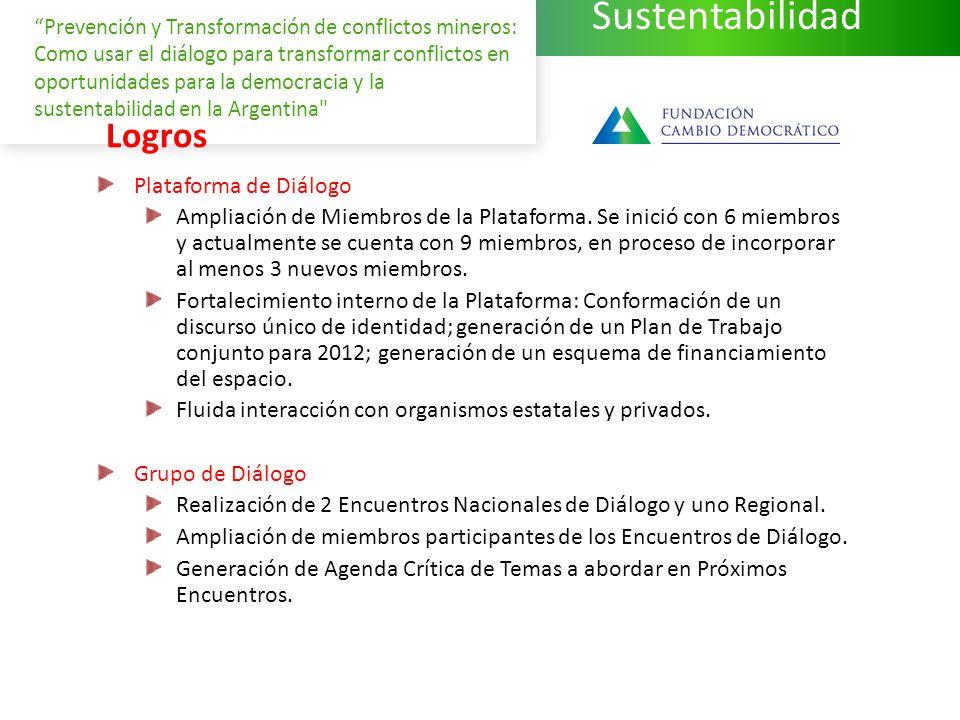 Sustentabilidad Prevención y Transformación de conflictos mineros: Como usar el diálogo para transformar conflictos en oportunidades para la democracia y la sustentabilidad en la Argentina Logros Plataforma de Diálogo Ampliación de Miembros de la Plataforma.