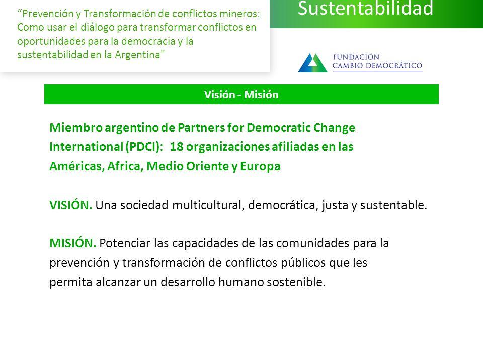 Sustentabilidad Prevención y Transformación de conflictos mineros: Como usar el diálogo para transformar conflictos en oportunidades para la democracia y la sustentabilidad en la Argentina Miembro argentino de Partners for Democratic Change International (PDCI): 18 organizaciones afiliadas en las Américas, Africa, Medio Oriente y Europa VISIÓN.