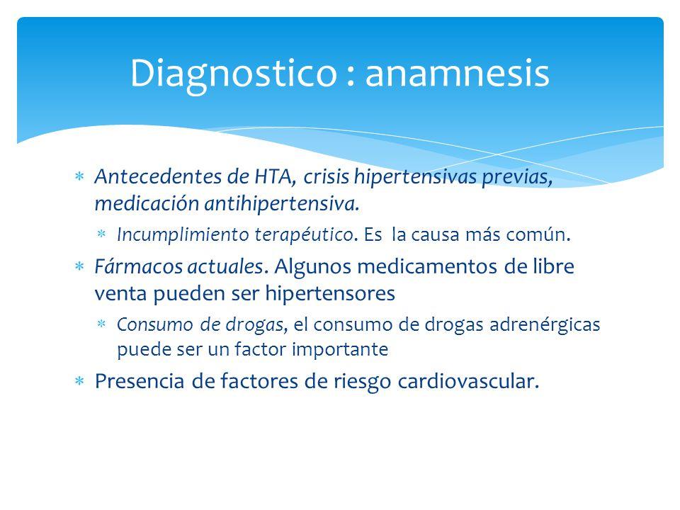 Antecedentes de HTA, crisis hipertensivas previas, medicación antihipertensiva. Incumplimiento terapéutico. Es la causa más común. Fármacos actuales.