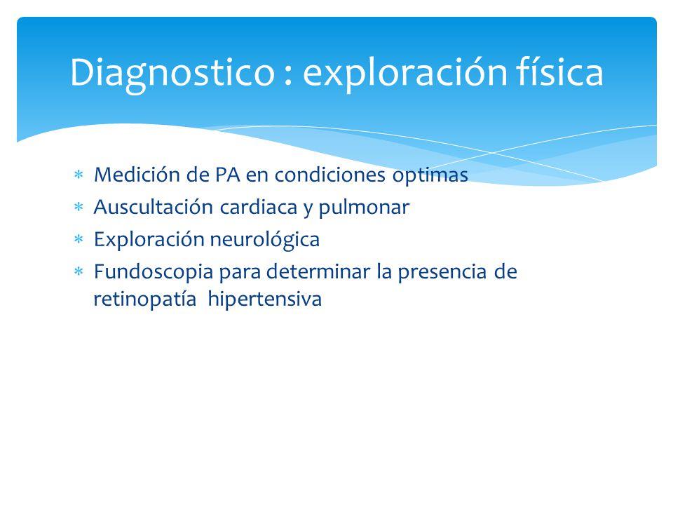 Medición de PA en condiciones optimas Auscultación cardiaca y pulmonar Exploración neurológica Fundoscopia para determinar la presencia de retinopatía