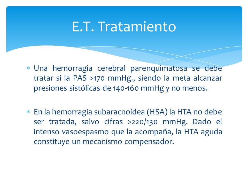 Una hemorragia cerebral parenquimatosa se debe tratar si la PAS >170 mmHg., siendo la meta alcanzar presiones sistólicas de 140-160 mmHg y no menos. E