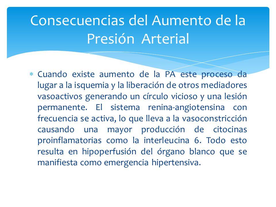 Cuando existe aumento de la PA este proceso da lugar a la isquemia y la liberación de otros mediadores vasoactivos generando un círculo vicioso y una