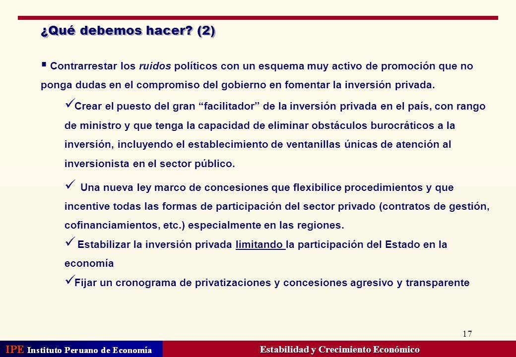 17 ¿Qué debemos hacer? (2) Contrarrestar los ruidos políticos con un esquema muy activo de promoción que no ponga dudas en el compromiso del gobierno