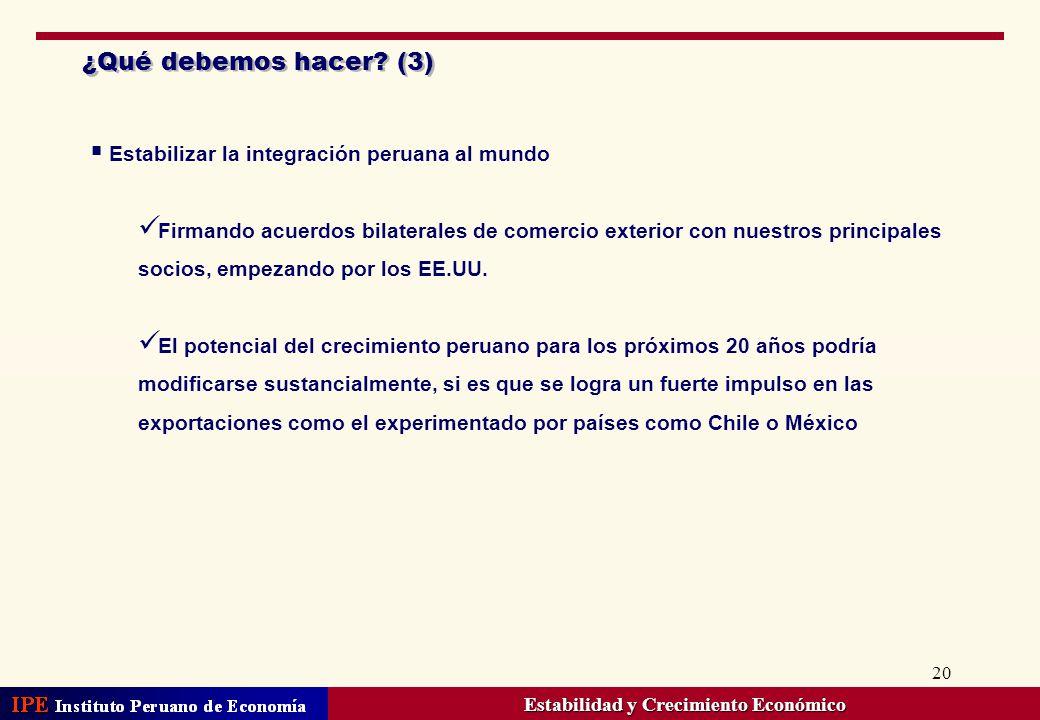 20 ¿Qué debemos hacer? (3) Estabilizar la integración peruana al mundo Firmando acuerdos bilaterales de comercio exterior con nuestros principales soc