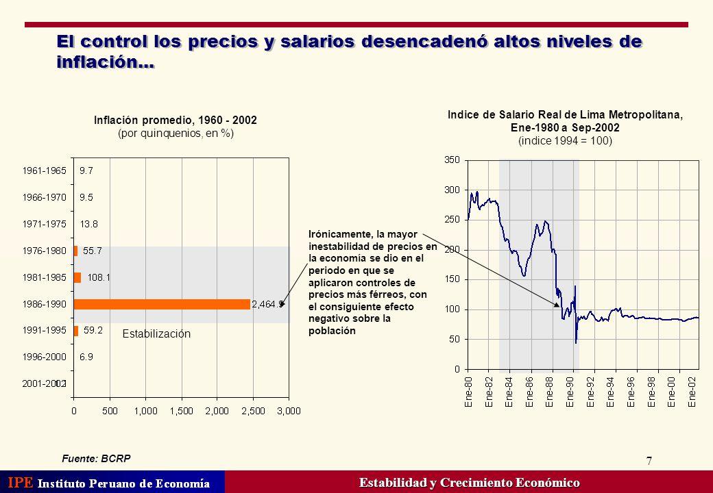 8 … así como una continua pérdida del valor de nuestra moneda… Fuente: Penn World Table (PWT) 6.1, Latin American Concesus Forecasts Depreciación nominal anual, 1965-2002 (variaciones promedios anuales) En 1988 la devaluación fue de 926,928%, mientras que la devaluación promedio correspondiente al periodo 1985-1990 fue de 155,478%.