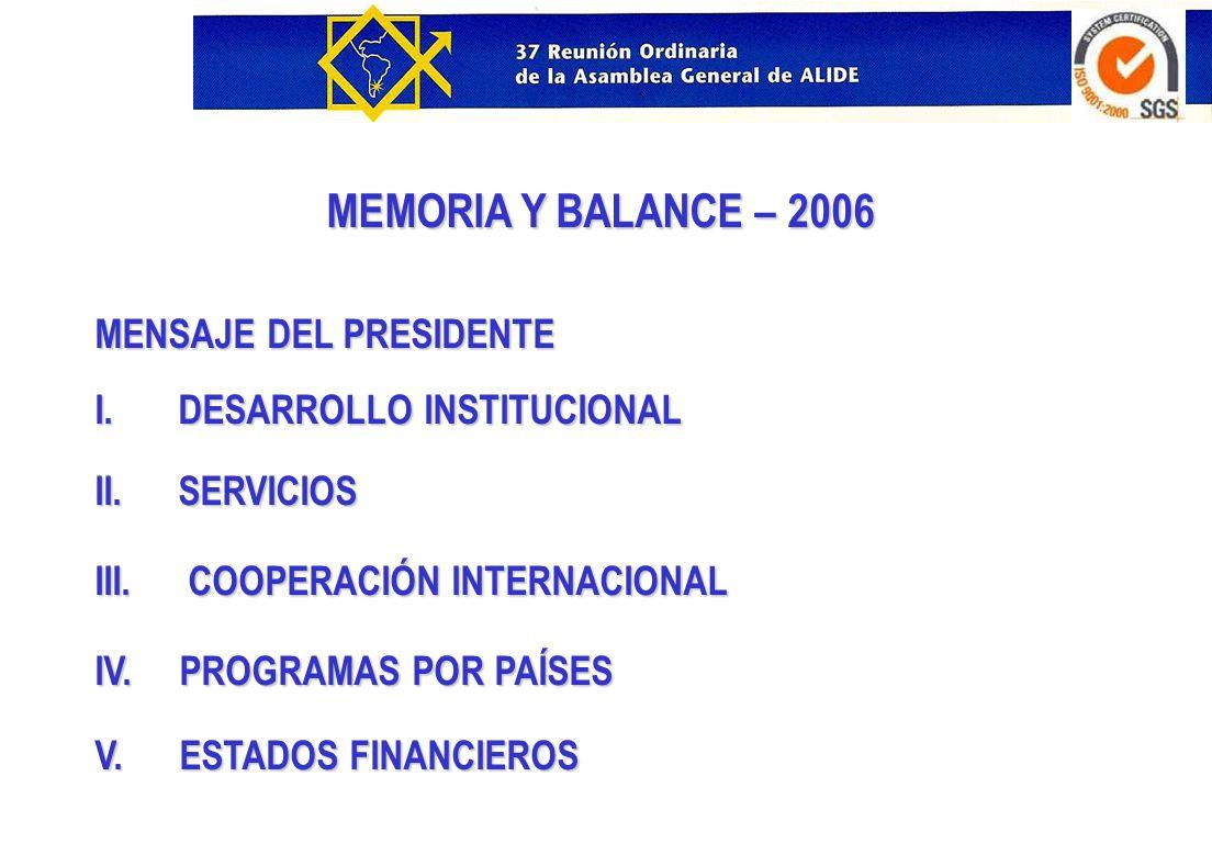 MEMORIA Y BALANCE – 2006 MENSAJE DEL PRESIDENTE I. DESARROLLO INSTITUCIONAL II. SERVICIOS III. COOPERACIÓN INTERNACIONAL IV. PROGRAMAS POR PAÍSES V. E