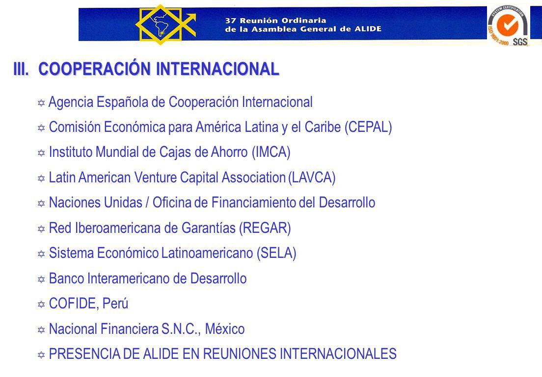 III. COOPERACIÓN INTERNACIONAL Y Agencia Española de Cooperación Internacional Y Comisión Económica para América Latina y el Caribe (CEPAL) Y Institut
