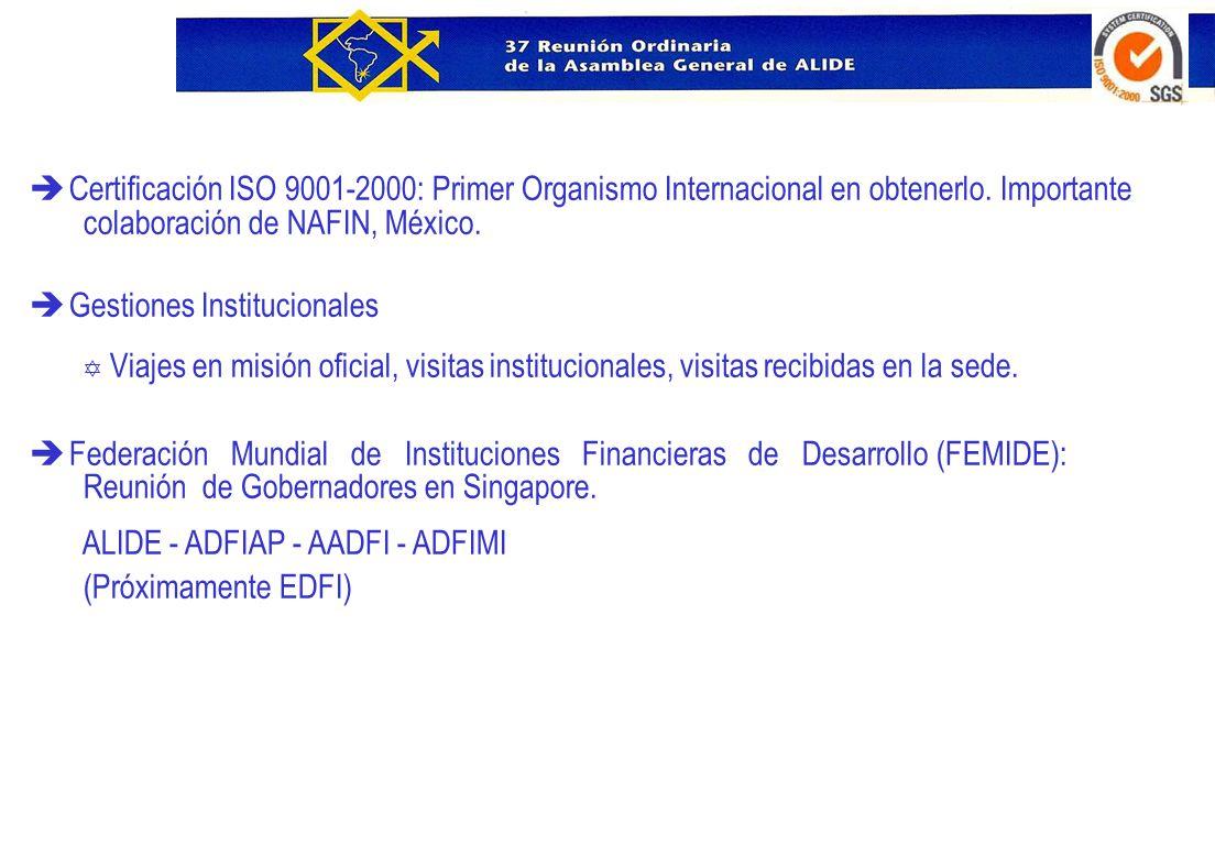 è Certificación ISO 9001-2000: Primer Organismo Internacional en obtenerlo. Importante colaboración de NAFIN, México. è Gestiones Institucionales Y Vi