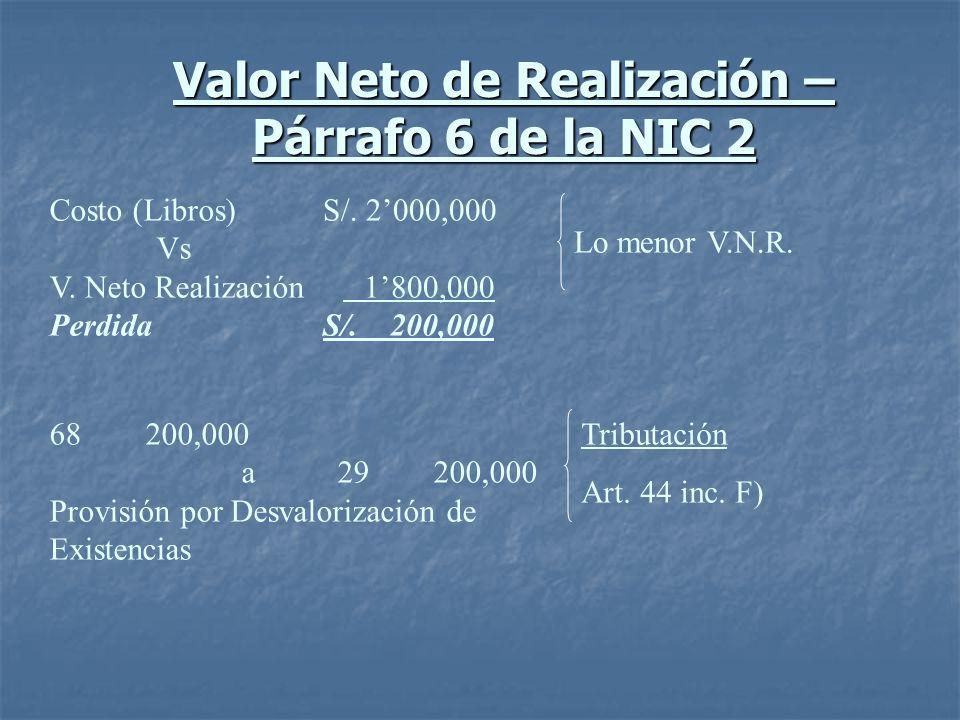 Valor Neto de Realización – Párrafo 6 de la NIC 2 Costo (Libros) Vs V. Neto Realización Perdida S/. 2000,000 1800,000 S/. 200,000 Lo menor V.N.R. 6820