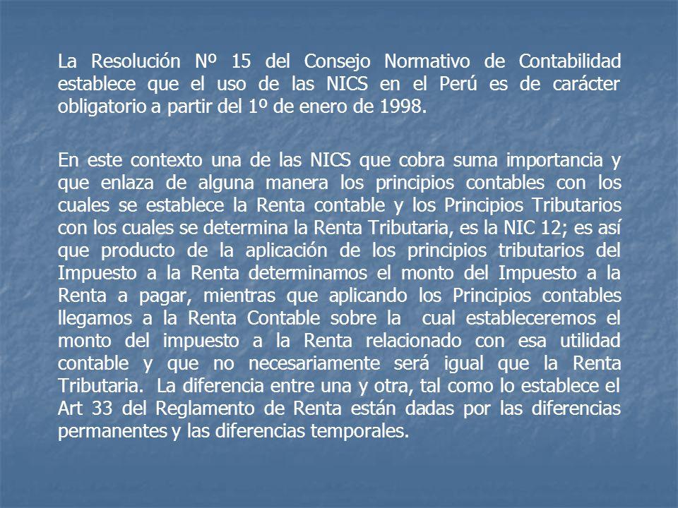 La Resolución Nº 15 del Consejo Normativo de Contabilidad establece que el uso de las NICS en el Perú es de carácter obligatorio a partir del 1º de en
