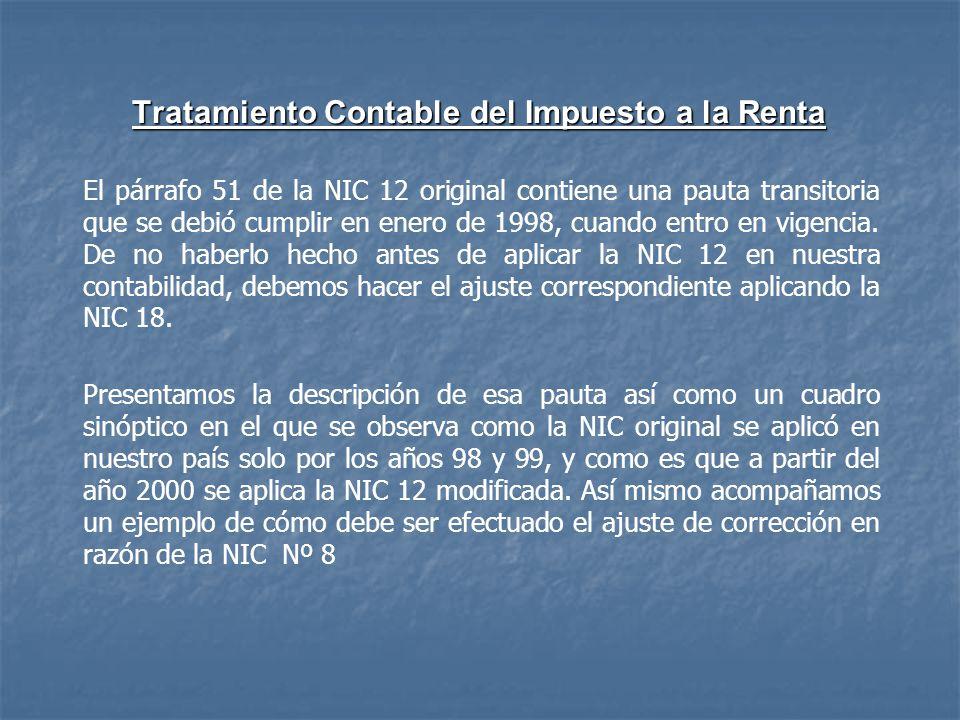 Tratamiento Contable del Impuesto a la Renta El párrafo 51 de la NIC 12 original contiene una pauta transitoria que se debió cumplir en enero de 1998,
