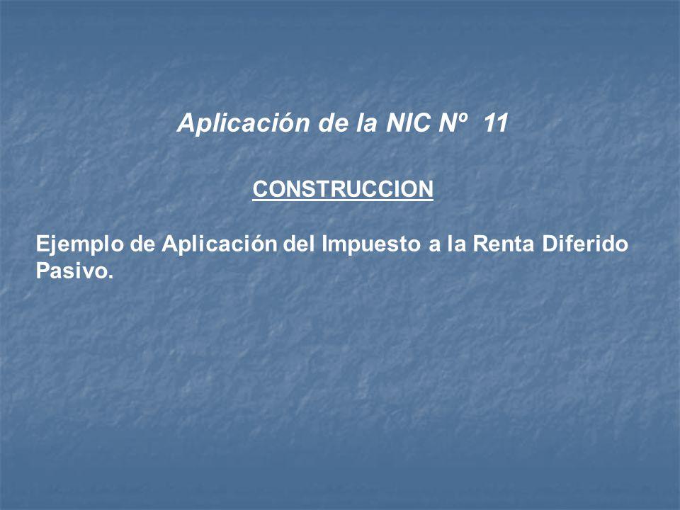 Aplicación de la NIC Nº 11 CONSTRUCCION Ejemplo de Aplicación del Impuesto a la Renta Diferido Pasivo.