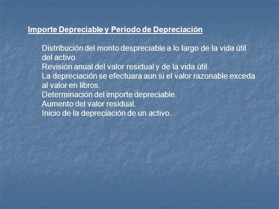 Importe Depreciable y Periodo de Depreciación Distribución del monto despreciable a lo largo de la vida útil del activo. Revisión anual del valor resi