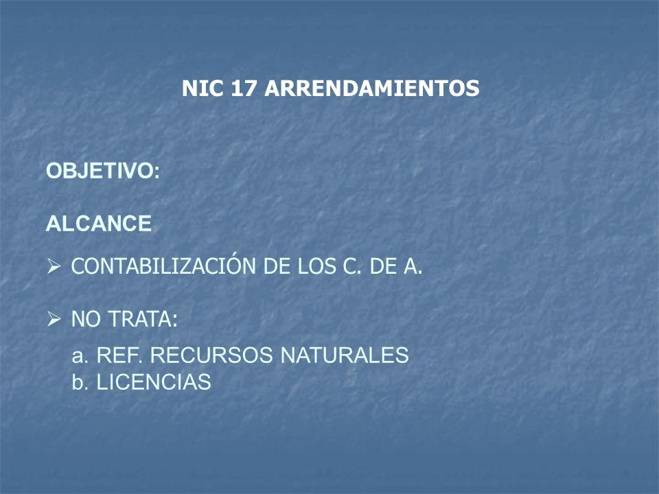 OBJETIVO: ALCANCE CONTABILIZACIÓN DE LOS C. DE A. NO TRATA: a.REF. RECURSOS NATURALES b.LICENCIAS NIC 17 ARRENDAMIENTOS