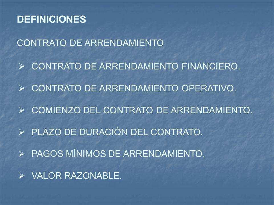 DEFINICIONES CONTRATO DE ARRENDAMIENTO CONTRATO DE ARRENDAMIENTO FINANCIERO. CONTRATO DE ARRENDAMIENTO OPERATIVO. COMIENZO DEL CONTRATO DE ARRENDAMIEN