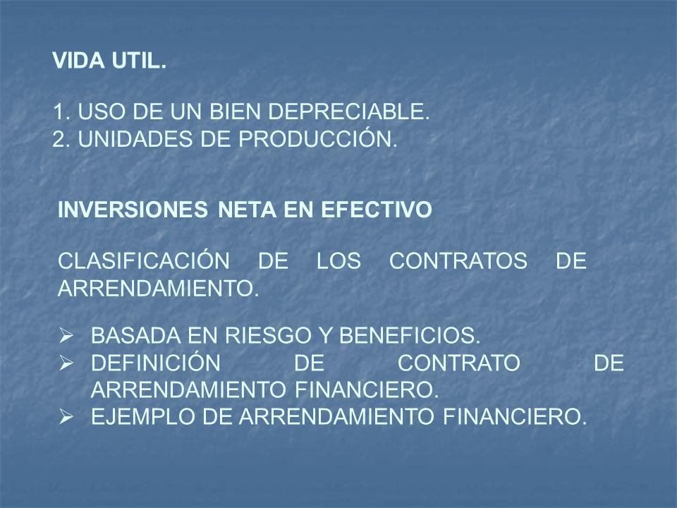 VIDA UTIL. 1.USO DE UN BIEN DEPRECIABLE. 2.UNIDADES DE PRODUCCIÓN. INVERSIONES NETA EN EFECTIVO CLASIFICACIÓN DE LOS CONTRATOS DE ARRENDAMIENTO. BASAD