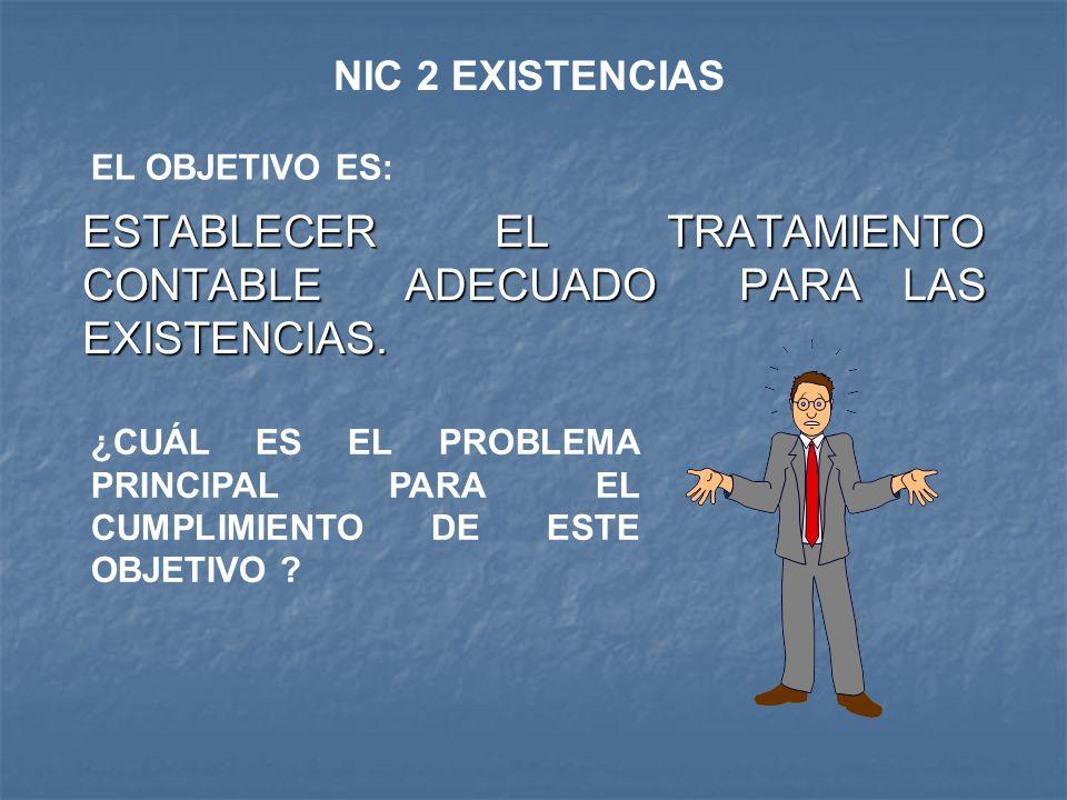 ESTABLECER EL TRATAMIENTO CONTABLE ADECUADO PARA LAS EXISTENCIAS. NIC 2 EXISTENCIAS ¿CUÁL ES EL PROBLEMA PRINCIPAL PARA EL CUMPLIMIENTO DE ESTE OBJETI
