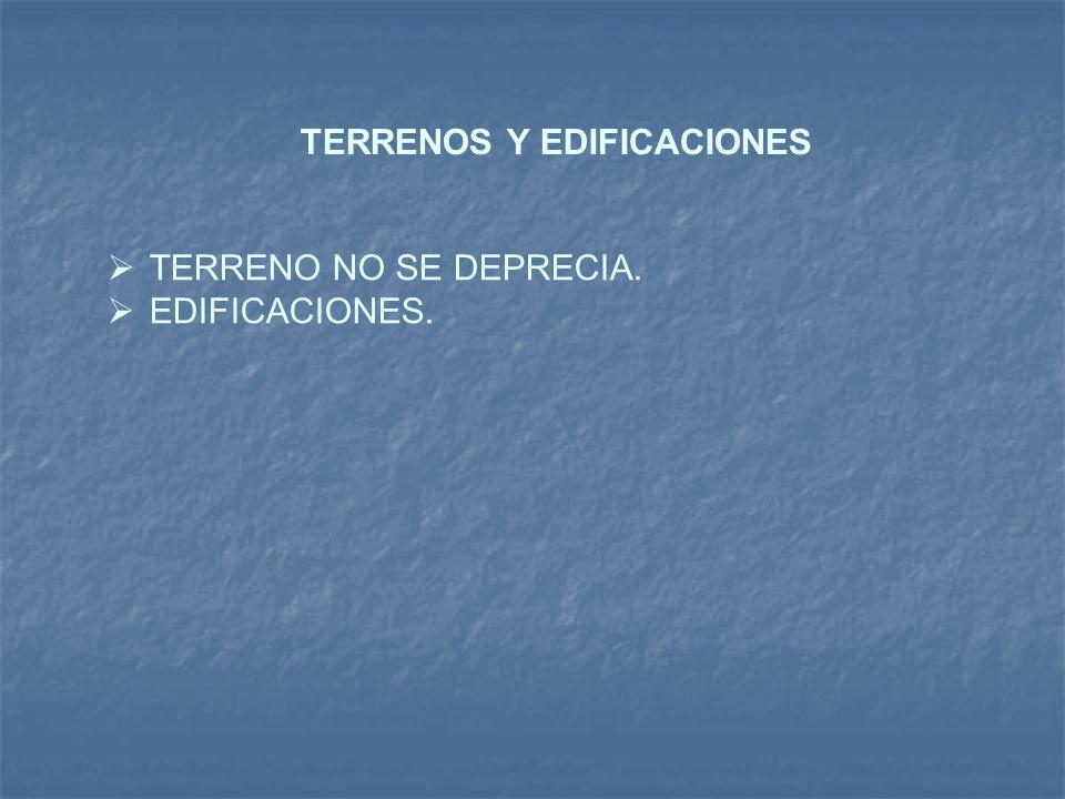 TERRENOS Y EDIFICACIONES TERRENO NO SE DEPRECIA. EDIFICACIONES.