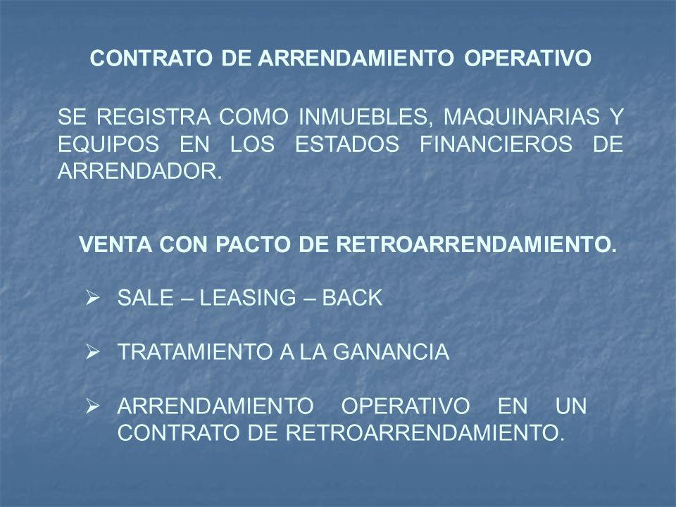 CONTRATO DE ARRENDAMIENTO OPERATIVO SE REGISTRA COMO INMUEBLES, MAQUINARIAS Y EQUIPOS EN LOS ESTADOS FINANCIEROS DE ARRENDADOR. VENTA CON PACTO DE RET