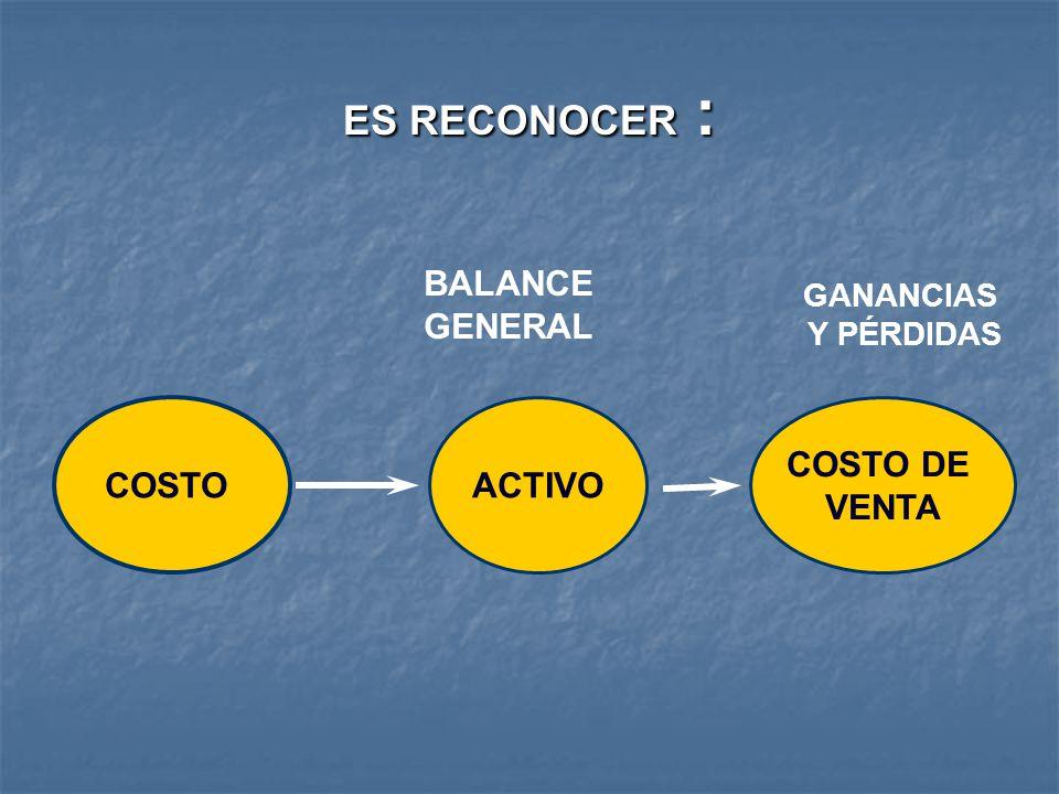 ES RECONOCER : ACTIVO BALANCE GENERAL GANANCIAS Y PÉRDIDAS COSTO COSTO DE VENTA
