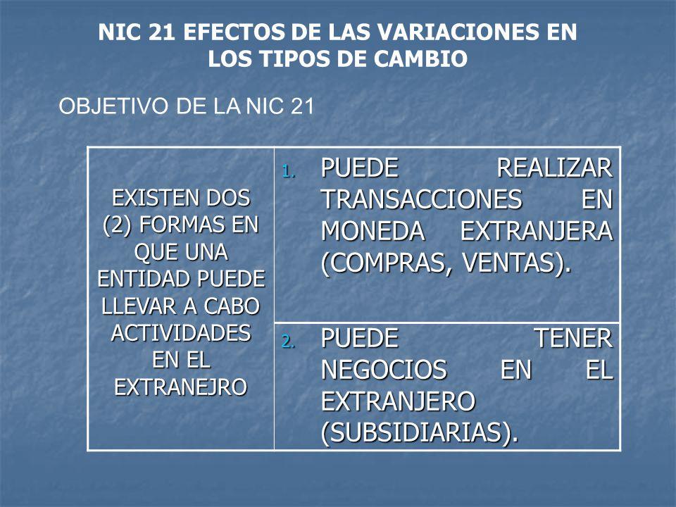 OBJETIVO DE LA NIC 21 EXISTEN DOS (2) FORMAS EN QUE UNA ENTIDAD PUEDE LLEVAR A CABO ACTIVIDADES EN EL EXTRANEJRO 1. PUEDE REALIZAR TRANSACCIONES EN MO