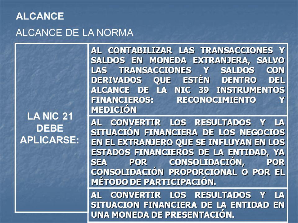 ALCANCE ALCANCE DE LA NORMA AL CONTABILIZAR LAS TRANSACCIONES Y SALDOS EN MONEDA EXTRANJERA, SALVO LAS TRANSACCIONES Y SALDOS CON DERIVADOS QUE ESTÉN
