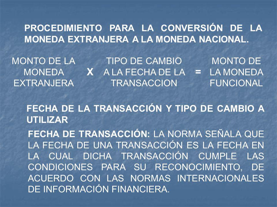 PROCEDIMIENTO PARA LA CONVERSIÓN DE LA MONEDA EXTRANJERA A LA MONEDA NACIONAL. MONTO DE LA MONEDA EXTRANJERA X TIPO DE CAMBIO A LA FECHA DE LA TRANSAC