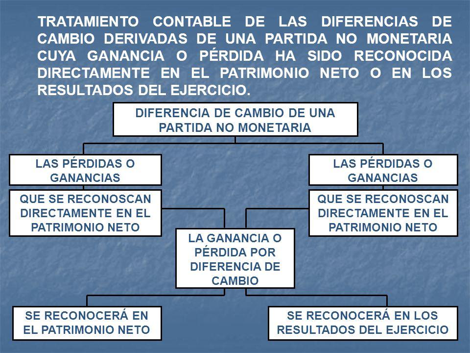 TRATAMIENTO CONTABLE DE LAS DIFERENCIAS DE CAMBIO DERIVADAS DE UNA PARTIDA NO MONETARIA CUYA GANANCIA O PÉRDIDA HA SIDO RECONOCIDA DIRECTAMENTE EN EL