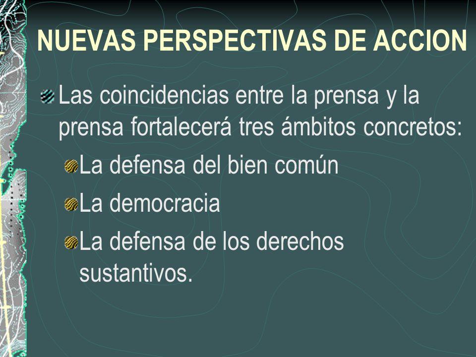 NUEVAS PERSPECTIVAS DE ACCION Las coincidencias entre la prensa y la prensa fortalecerá tres ámbitos concretos: La defensa del bien común La democraci