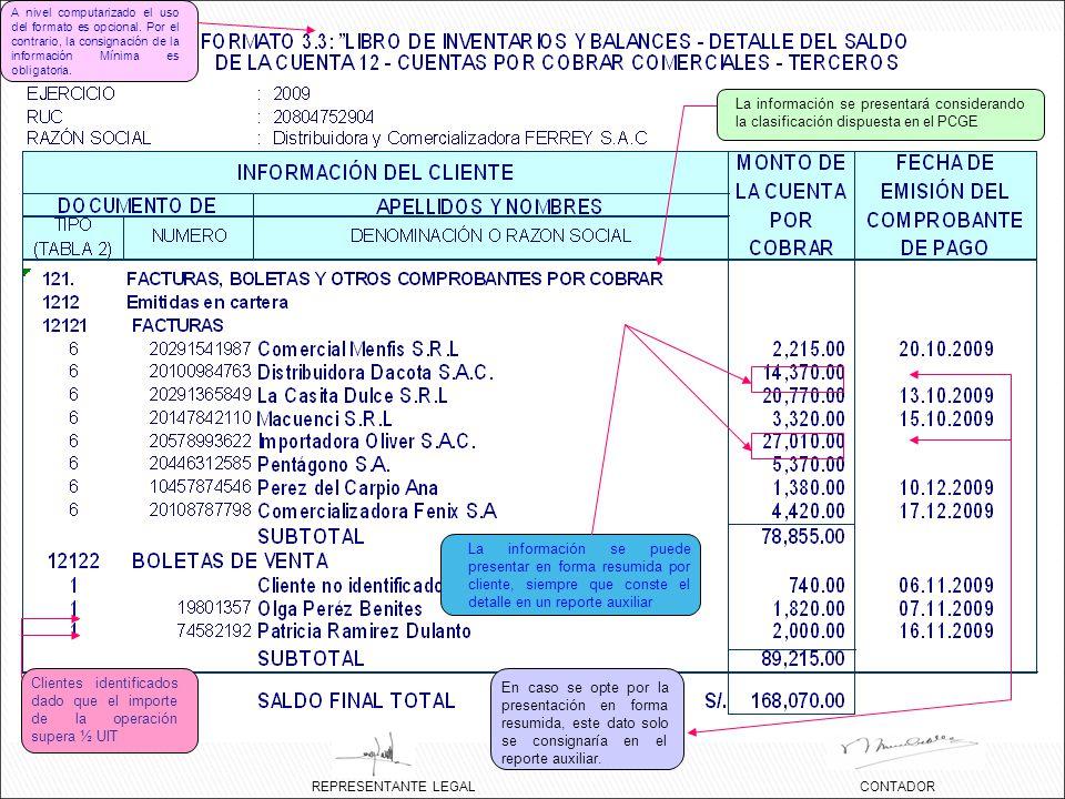 La información se presentará considerando la clasificación dispuesta en el PCGE REPRESENTANTE LEGALCONTADOR Clientes identificados dado que el importe