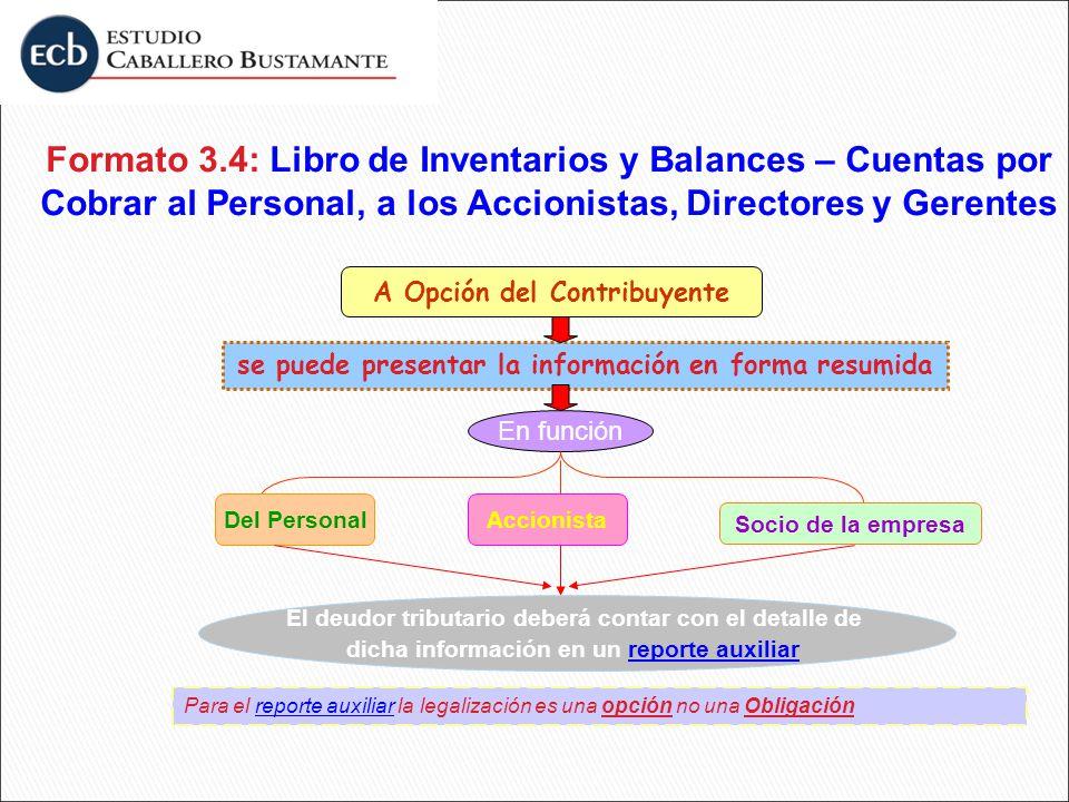 se puede presentar la información en forma resumida A Opción del Contribuyente En función Del PersonalAccionista Socio de la empresa El deudor tributa