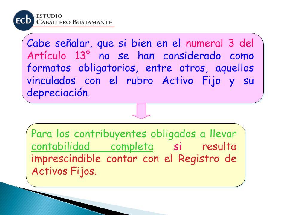 Cabe señalar, que si bien en el numeral 3 del Artículo 13° no se han considerado como formatos obligatorios, entre otros, aquellos vinculados con el r