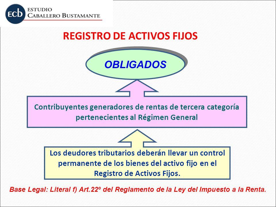 REGISTRO DE ACTIVOS FIJOS OBLIGADOS Contribuyentes generadores de rentas de tercera categoría pertenecientes al Régimen General Base Legal: Literal f)