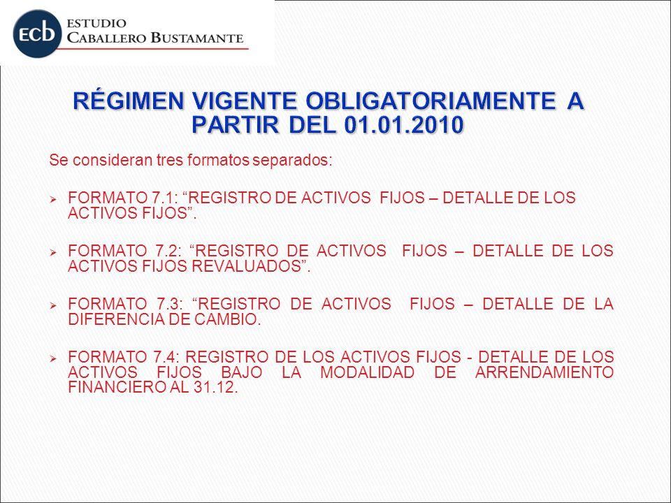 Se consideran tres formatos separados: FORMATO 7.1: REGISTRO DE ACTIVOS FIJOS – DETALLE DE LOS ACTIVOS FIJOS. FORMATO 7.2: REGISTRO DE ACTIVOS FIJOS –