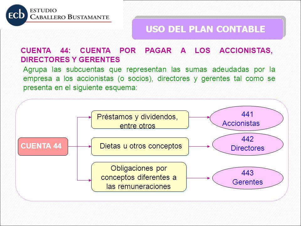 USO DEL PLAN CONTABLE CUENTA 44: CUENTA POR PAGAR A LOS ACCIONISTAS, DIRECTORES Y GERENTES Agrupa las subcuentas que representan las sumas adeudadas p